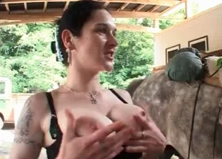 Awesome farm sex with a brunette
